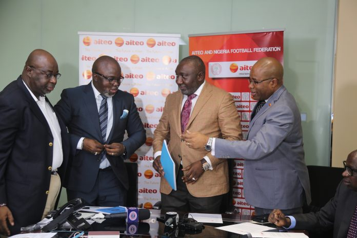 NFF President Pinnick (second left) and AITEO's DMD Francis Peters (second right)