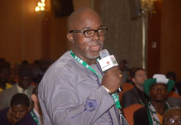 Man, Amaju Pinnick addressing participants