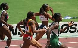 African women sprinters in action on the track
