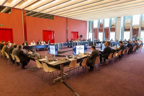 Euroleague Basketball officials in a meeting
