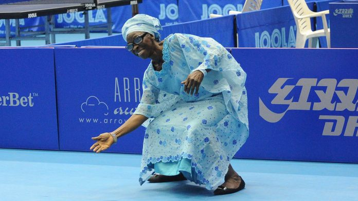 Veteran table tennis player Bilikisu Popoola with her dance stepsat the 2017 ITTF Challenge Seamaster Nigeria