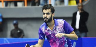 India's Sarthak Gandhi at the ITTF Challenge in Lagos