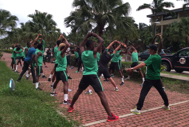 Super Eagles in trainning in Uyo