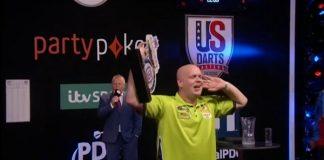Michael Van Gerwen, Winner of the U.S Darts Masters holds trophy.